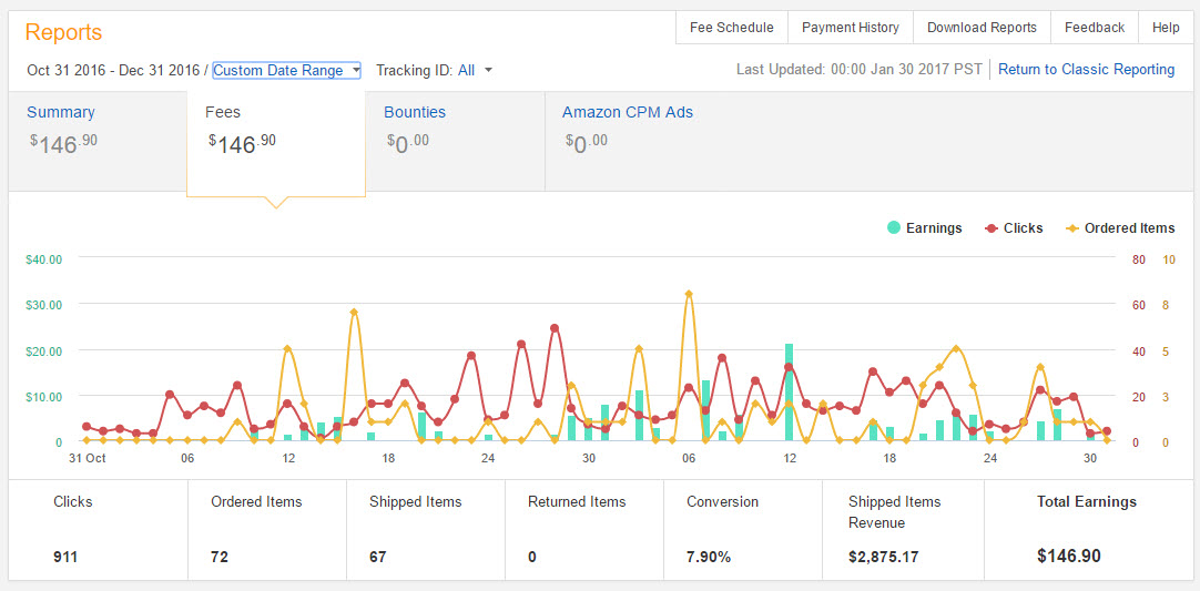 Amazon affiliate niche website earnings for 2016 and 2017