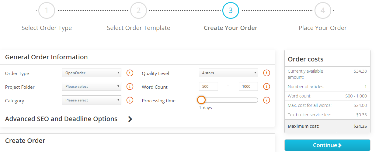 text broker order platform showing cost per word and total cost for your order