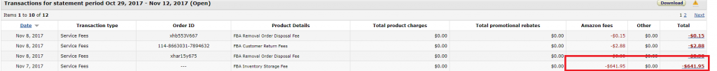 amazon storage fees in Q4 are insane